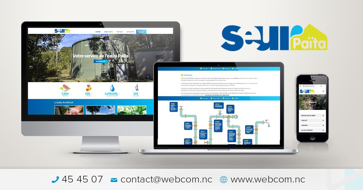 Création du site internet pour la Société des Eaux Urbaines et Rurales de Païta.